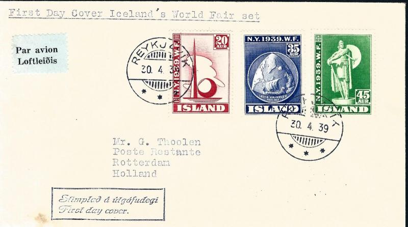 Rare Iceland World's Fair #213-215 f&b FDC! Collectors-Make an OFFER!