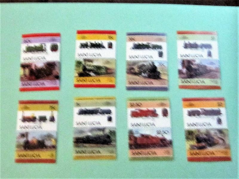 St. Lucia - 711-18, MNH Set (Pairs). Locomotives. SCV - $3.35
