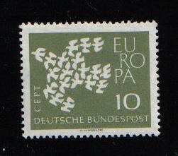 Germany 1961  MNH  Europa  10 Pf  fluorescent paper  #