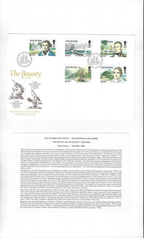 Isle of Man 389-93 The Bounty 1989  Official FDC