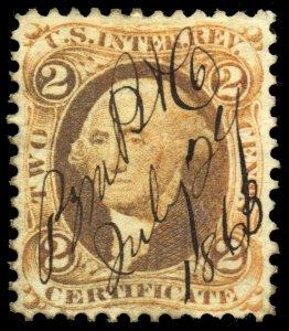 B358 U.S. Revenue Scott R8c 2c Certificate orange 1863 manuscript cancel CV=$45