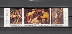 Ras Al Khaima, Mi cat. 349-351 B. Religious Christmas, IMPERF issue