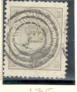 Denmark Sc 15, 1864 16  s Royal Emblems stamp used