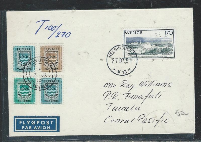 TUVALU (P0407B) INCOMING COVER FROM SWEDEN 1981