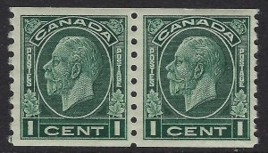 Scott 205 - 1c Dark Green 1933 King George V Medallion coil pair, VF-XF-NH