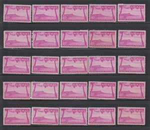US,C46,WHOLESALE LOT OF 25,HAWAII,MNH,1950'S AIRMAIL COLLECTION MINT NH,OG