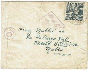 Curacao 1940 Aruba cancel on cover to MALTA, via Switzerland, Malta censor