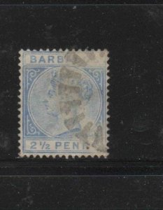BARBADOS #62  1882  2 1/2p   QUEEN VICTORIA    F-VF  USED   f