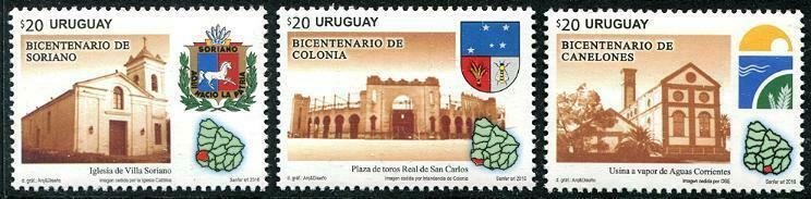 HERRICKSTAMP NEW ISSUES URUGUAY Canelones, Soriano & Colonia