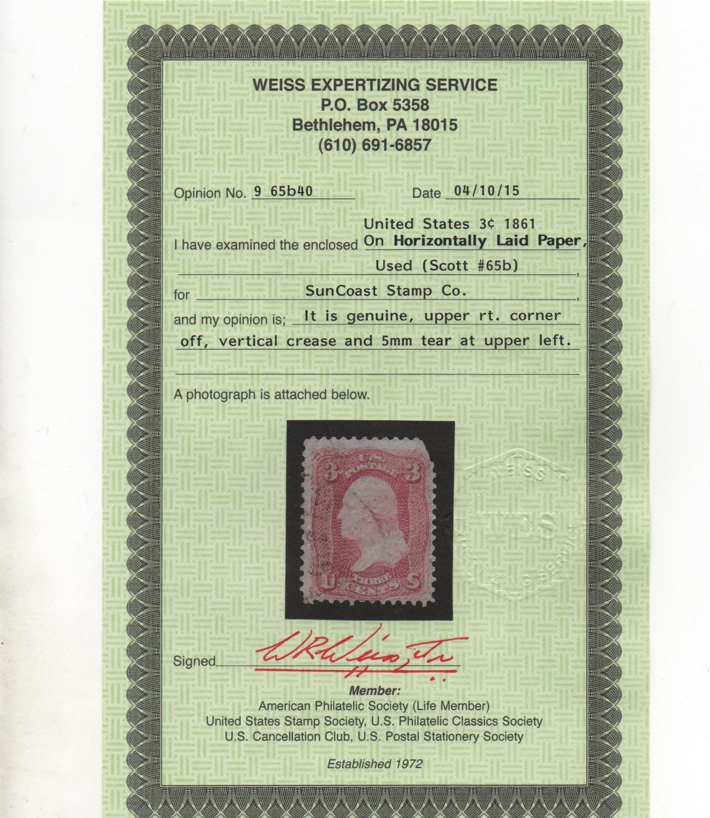 US Scott 65b LAID PAPER Rare Stamp Used With Weiss Cert CV 1250