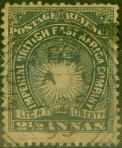 B.E.A KUT 1891 2 1/2a Black Yellow-Buff SG7 Good Used