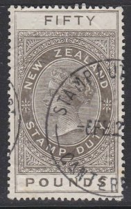 NEW ZEALAND 1880 LONG TYPE STAMP DUTY £50 used..............................J416