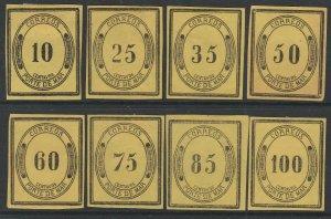 MEXICO (JX1-JX8), PORTE DE MAR, NEVER ISSUED SET MIXED COND. UNUSED, H OG/NG VF