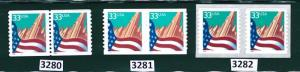 US Scott # 3280, 3281, & 3282 / Flag Over City Set of 3 Coil Pairs