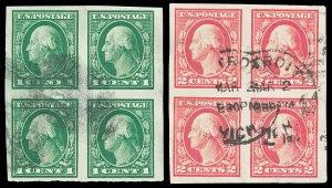 Scott 481-482 1916 1c & 2c Washington Imperf Blocks of 4 Used VF Cat $10.50