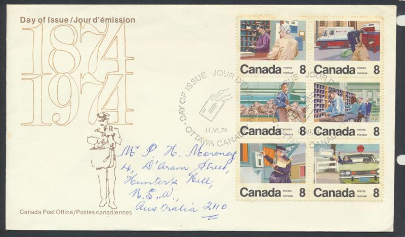 FDC SG 776a block of 6 SC# 639a SPECIAL - please read details - Letter Carrier