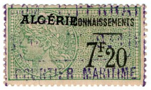 (I.B) France Colonial Revenue : Algeria Bill of Lading 7Fr 20c