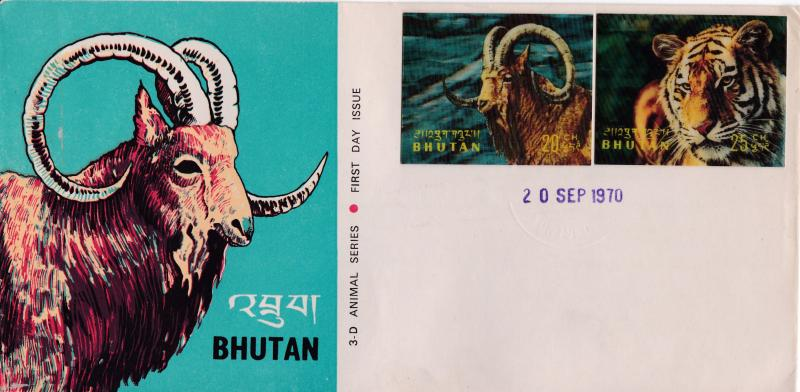 Bhutan 1970 3-D Animal set Complete on Seven Cachet Unaddressed First Day Cover