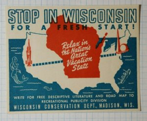 Stop In Wisconsin Nations Great Vacation State Tourism Ad Poster Stamp