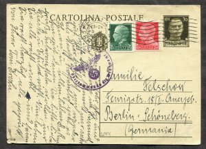 p154 - ITALY 1944(?) Uprated Postal Card to GERMANY. Wehrmacht CENSORED