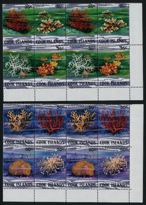 Cook Islands 576-81 BR Blocks MNH Coral, Marine Life