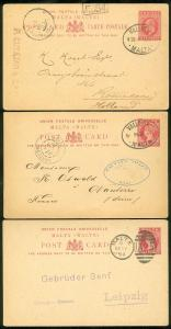 MALTA : 3 Interesting Early Used Post Cards.