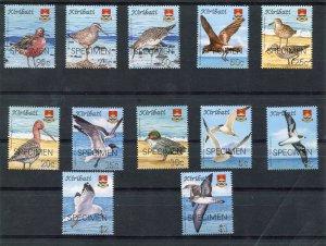 Kiribati 1980 BIRDS DEFINITIVES set 12 values Ovpt.SPECIMEN Perforated Mint (NH)