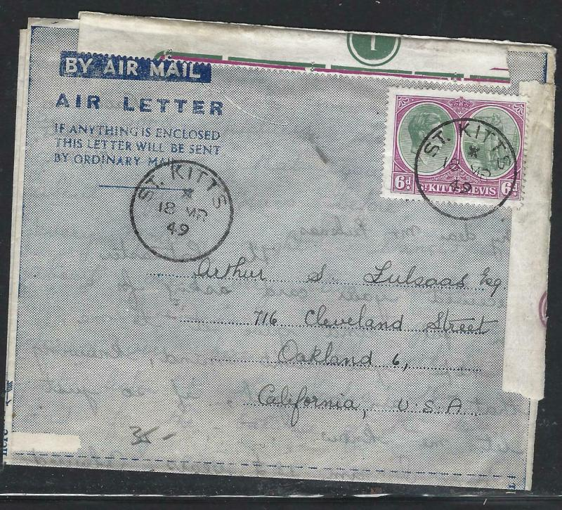 ST KITTS NEVIS  (PP0703B) 1949 KGVI 6D ON AEROGRAM TO USA, SADLY PL # SEPARATED