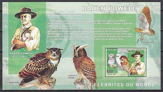 Congo, Dem., Mi cat. 2282, BL359 B. Scout Baden Powell & Owls, IMPERF s/sheet.