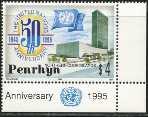PENRHYN Sc#446 1995 United Nations 50th Anniversary Complete Mint NH
