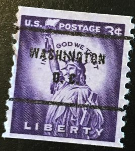 1057 Statue, Liberty Series, 10V Perf. Coil, Circ. Single, Vic's Stamp Stash