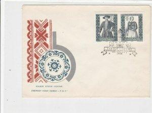 Poland 1959 Polish Folk Costumes Bird + Plant Cancel FDC Stamps Cover ref 22984