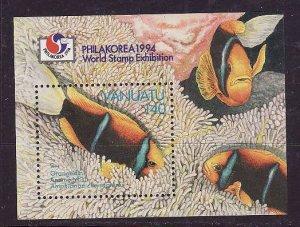 Vanuatu-Sc#640a-Unused NH sheet-Marine Life-Anemonefish-1994-