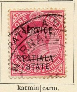 Patiala 1907 Early Issue Fine Used 1a. Optd 320094