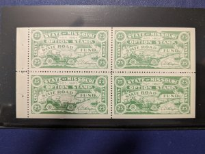 U.S.- Missouri State Road Fund revenue XFNH block of 4, CV $64
