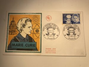 France Colorano silk FDC, 21 oct. 1967, Marie Curie 1867-1934
