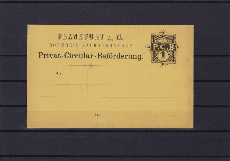 germany frankfurt unused private post circular card ref r13751