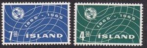 Iceland #  370-371, ITU Centennial, NH, 1/2 Cat.