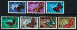 Dominica #427-33a* NH  CV $10.75 Butterflies complete set & Souvenir sheet