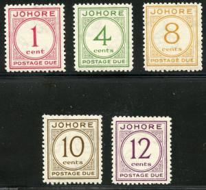 MALAYA JOHORE SCOTT# J1-5 MINT HINGED AS SHOWN (OZ)