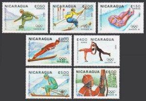 Nicaragua 1268-1274,MNH.Michel 2417-2423. Olympics Sarajevo-1984.Slalom,Luge,