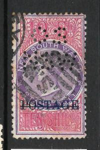 NEW SOUTH WALES 1887-90   10/-   QV  OFFICIAL  FU NSW PERFIN  P12   SG O36