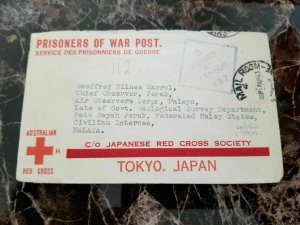 1943 Australia to Malaya Japan POW Prisoner of War Camp Cover GM Harral Air obse