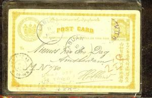 NORTH BORNEO (P1106B) PSC 1C 1898 TO HOLLAND VIA LABUAN FROM KUDAT STAMP OFF, TA