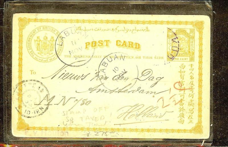 NORTH BORNEO (P1106B) PSC 1C 1898 TO HOLLAND VIA LABUAN FROM KUDAT STAMP OFF, TA