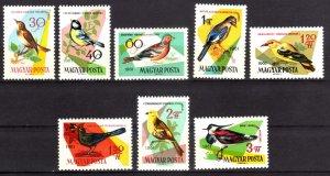 1961, Hungary, Birds set, MNH, Sc 1426-33
