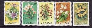 Ghana-Sc#1505//1514-unused NH 1/2 set-Flowers-Flora-1993-