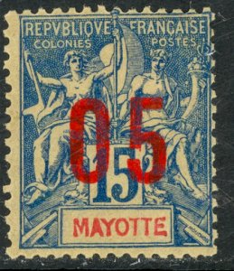 MAYOTTE 1912 05 on 15c Navigation and Commerce Surcharge Issue Sc 24 MH