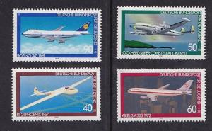 Germany    #B570-B573   MNH  1980  airplanes Lockheed   Boeing   Airbus