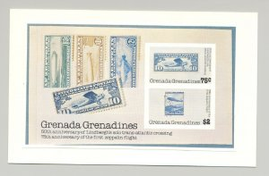 Grenada Grenadines 1978 Zeppelins Lindbergh Stamp on Stamp imperf proof of S/S